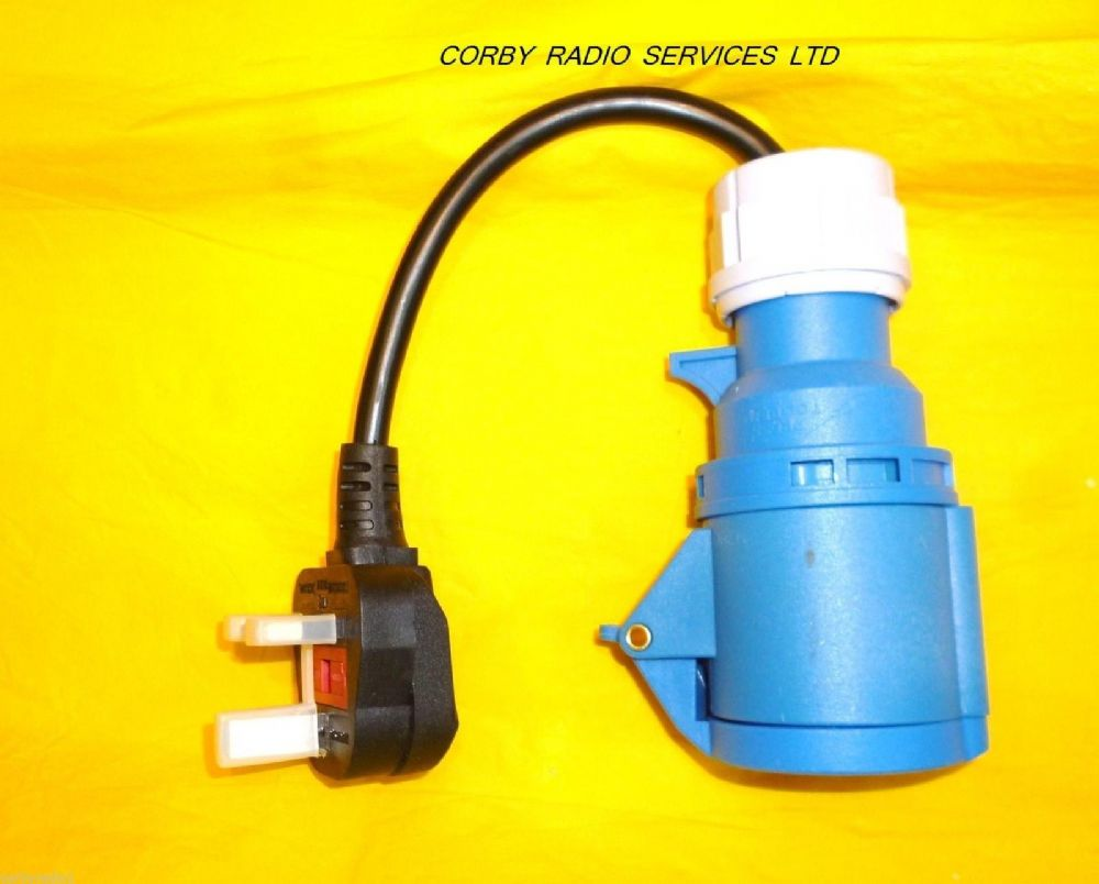 caravan adapter 3 pin uk plug to 3 pin blue socket